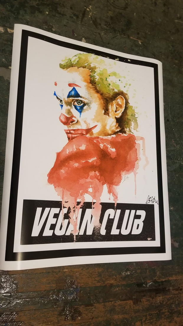 Ltd Edition Joker Poster or Newsprint collaboration Vegan Club with Lindsay Lewis signed Le Fou