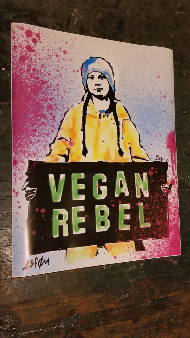 Ltd Edition Greta Thunberg Poster or Newsprint collaboration Vegan Club with Lindsay Lewis signed Le Fou