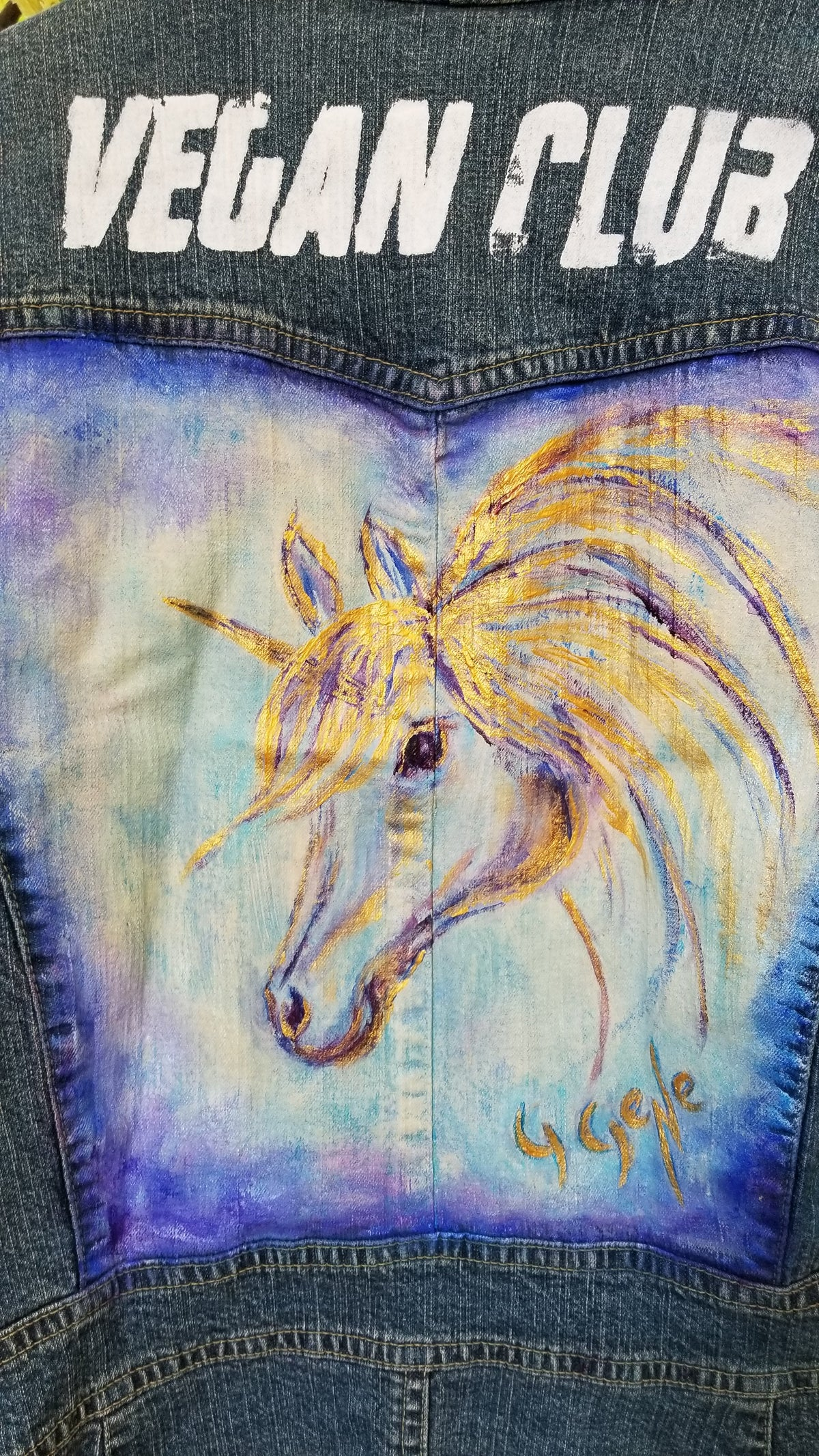 Jean Jacket featuring a Horse Unicorn Collaboration with Gloria Gene