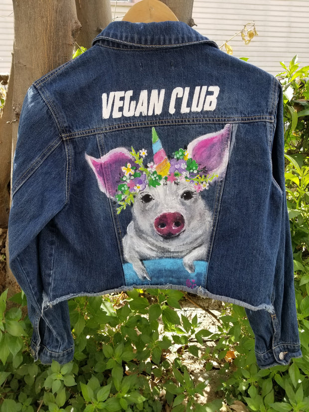 Brandi Jae Collab Jean Jacket feat a Happy Pig