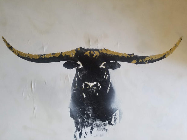 SOLD - 36x48 Original Artwork Long Horns Bull with cracked glass