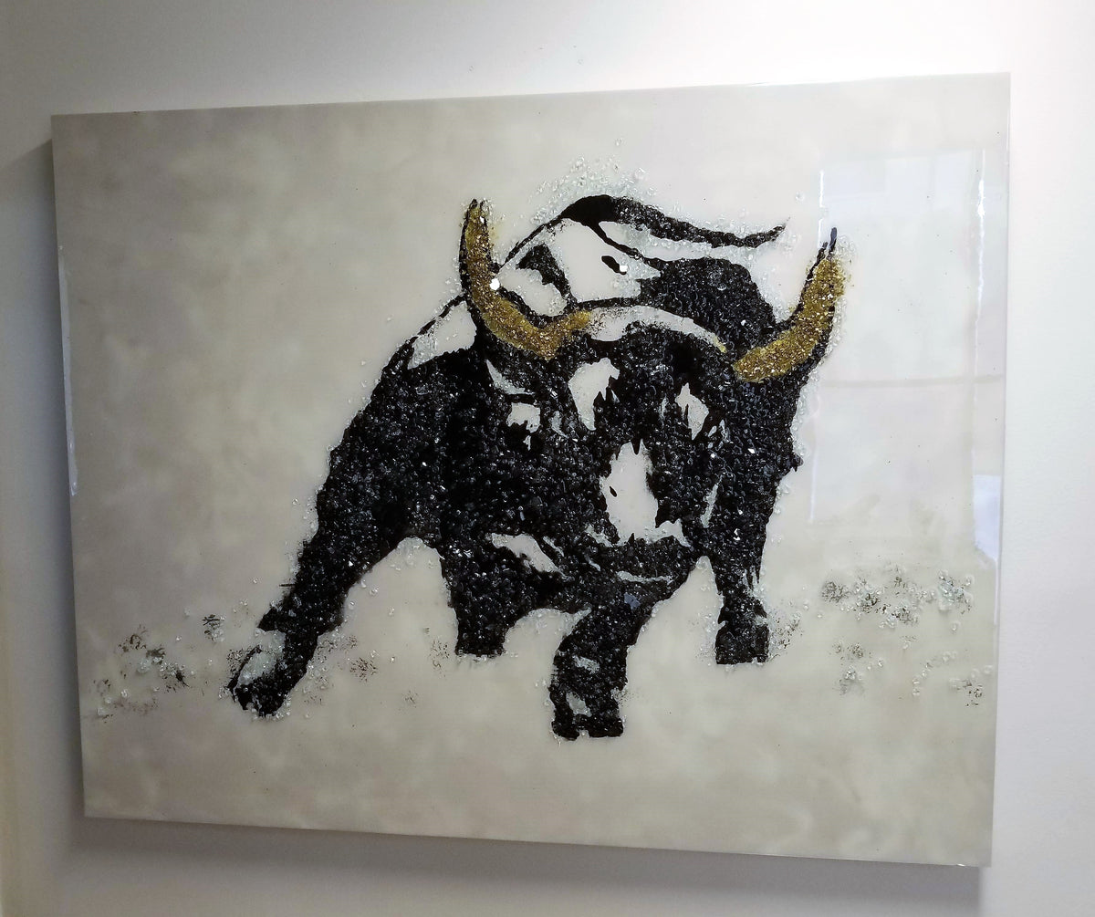 SOLD - 48x60 Original Artwork Charging Bull with cracked glass