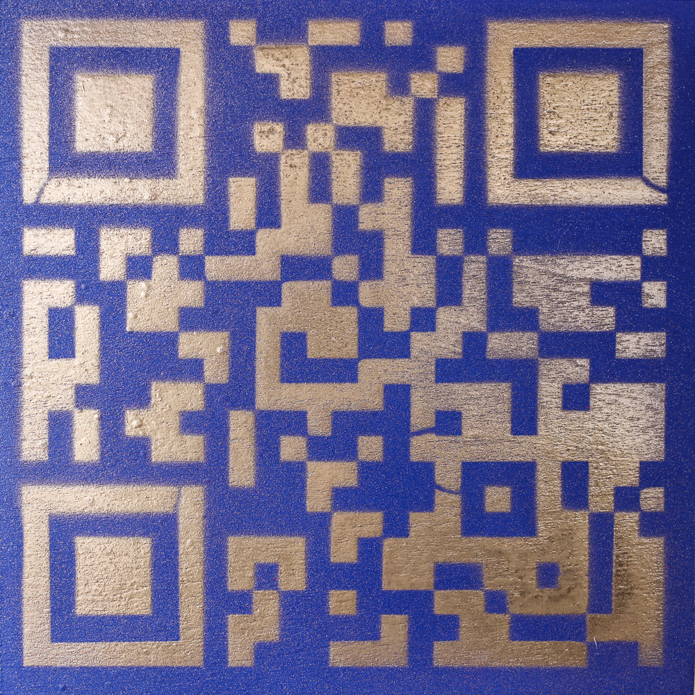 Original Artwork QR Code (Actual Size of a Hen Cage) Blue & Gold