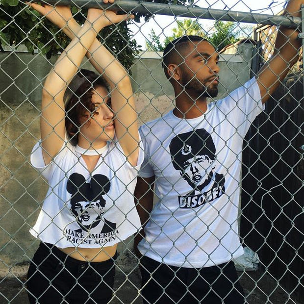 "Organic Made in USA T-shirt ""DISOBEY"" featuring Donald Trump with Mickey ears or Russian ushanka"