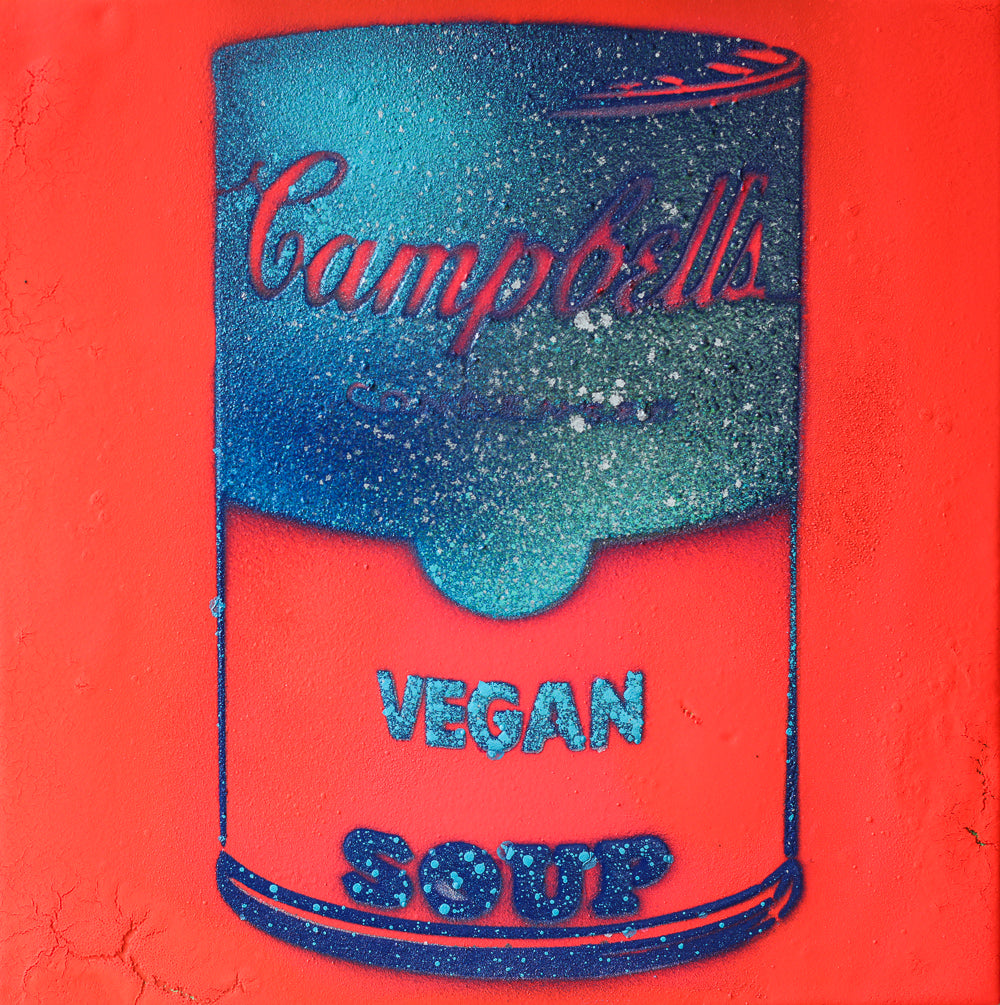 Vegan Soup Neon Coral & Aqua Graffiti on Wood and Resin 8x8