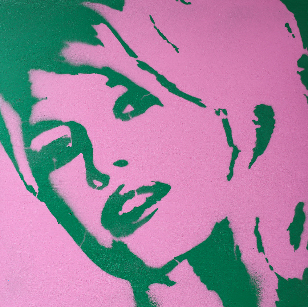 Brigitte Bardot Pink & Green Graffiti on Wood and Resin 10x10