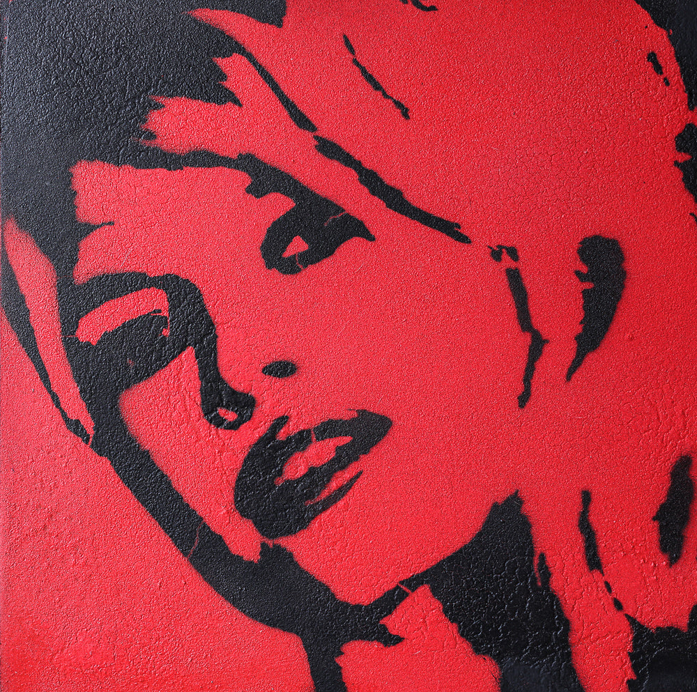 Brigitte Bardot Red & Black Graffiti on Wood and Resin 10x10