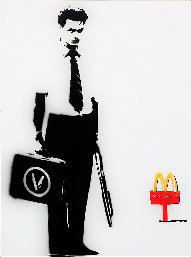 18x24 Original Artwork River Phoenix vegan visit at McDonalds a la Falling Down