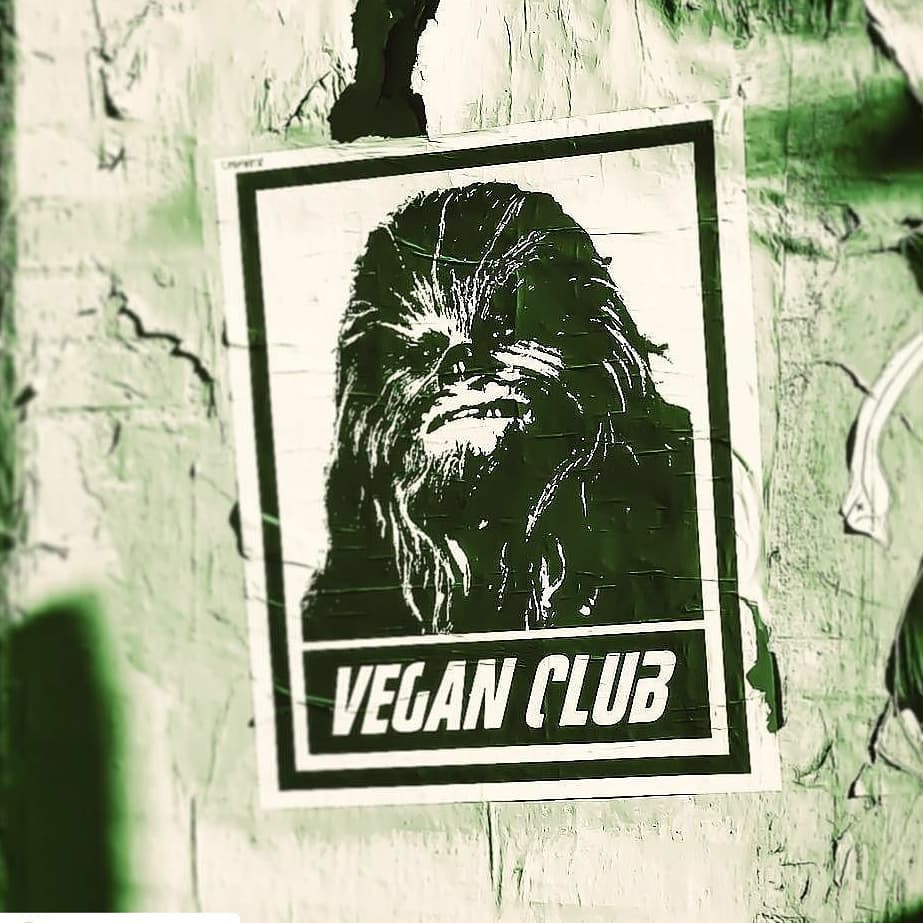 Street Art NewsPrint Poster Vegan Club featuring Chewbacca from Star Wars Signed L3f0u
