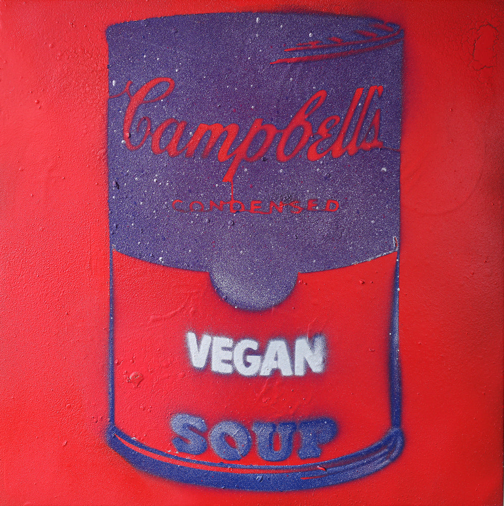 Vegan Soup Red, Purple & White Graffiti on Wood and Resin 12x12