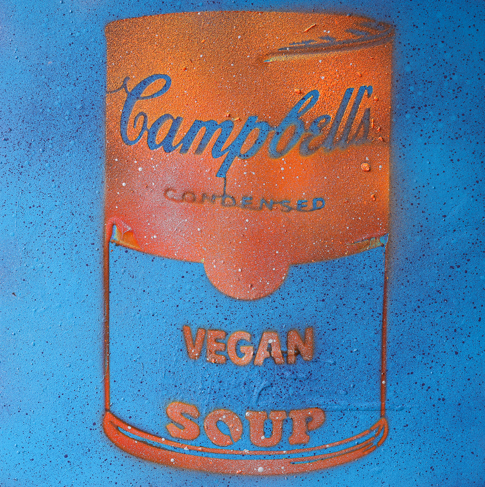 Vegan Soup Blue & Orange Graffiti on Wood and Resin 12x12