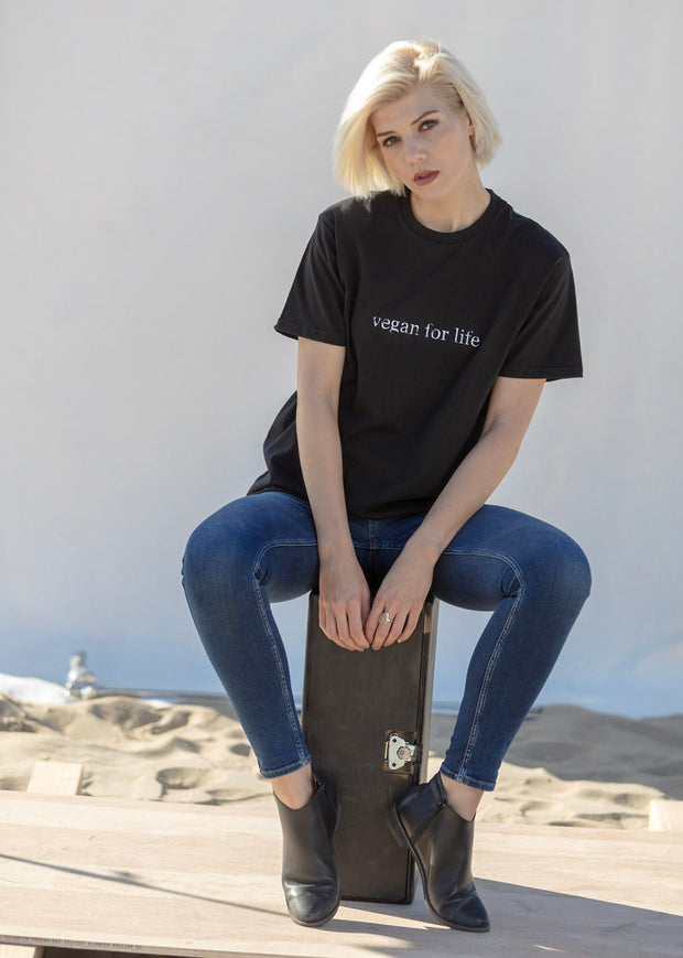 "Organic Made in USA T-shirt ""Vegan for Life"""