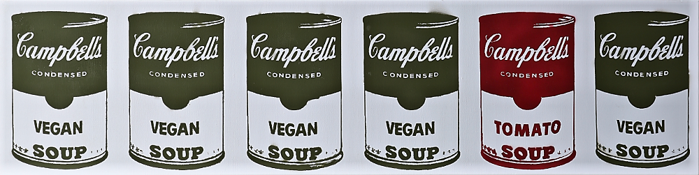 12x48 Original Artwork Campbell's Vegan Soup Isle Signed L3f0u on back Graffiti on Canvas