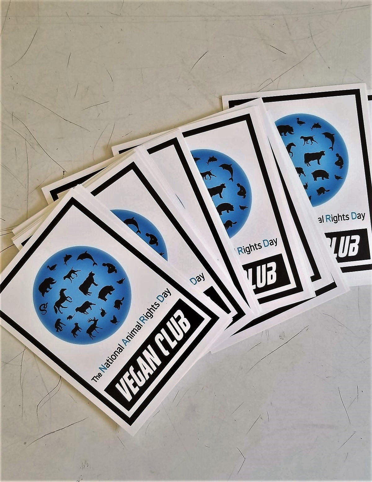 SOLD OUT - 12 Vegan Club NARD National Animal Rights Day Stickers