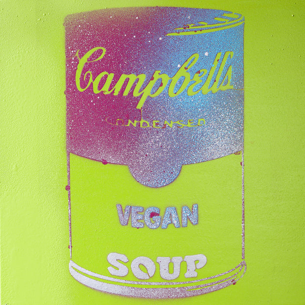 Vegan Soup Green, Purple & Blue Graffiti on Wood and Resin 8x8