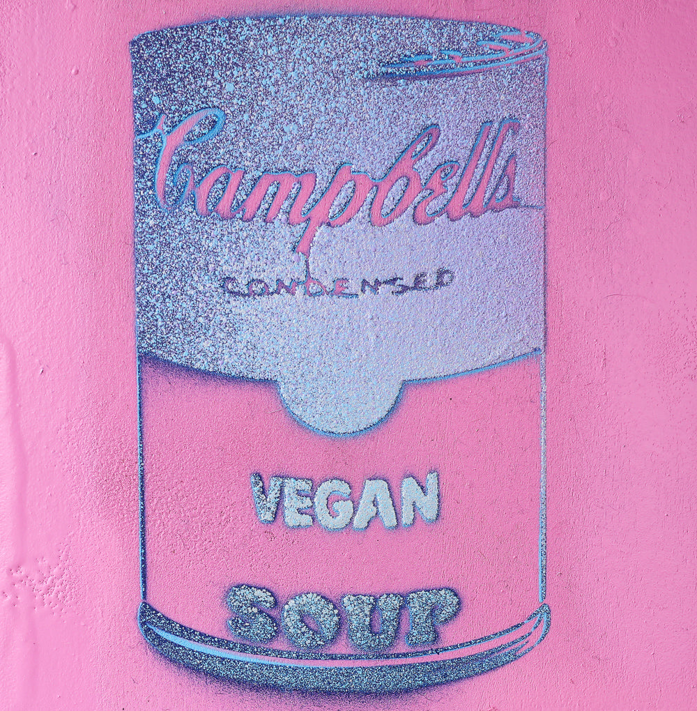 Vegan Soup Pink & Light Gradient Blue Graffiti on Wood and Resin 6x6