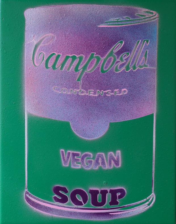 Vegan Soup Green & Gradient Purple Graffiti on Wood and Resin 14x11