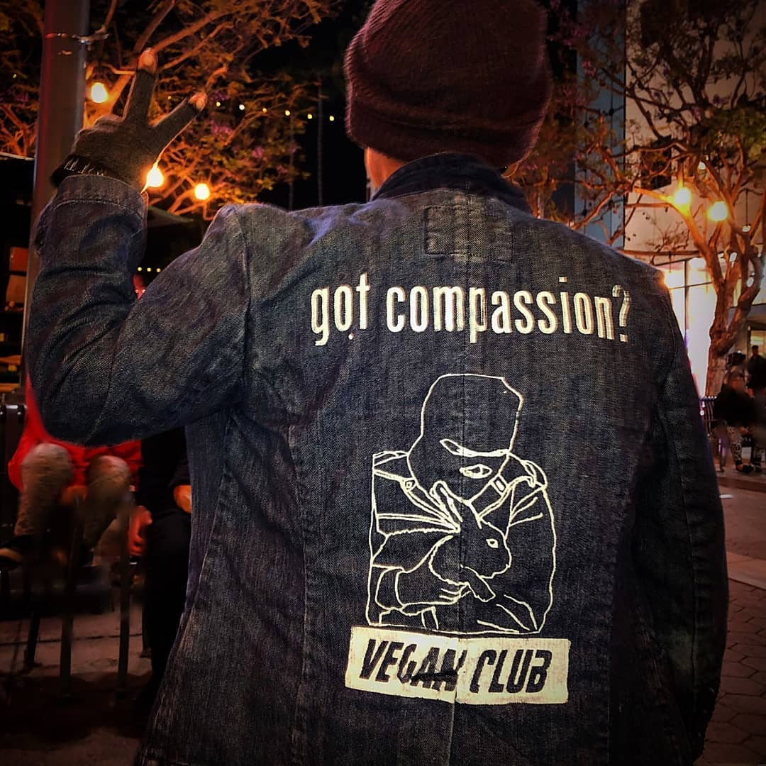 Get your Jean Jacket Customized with a Vegan Club logo or any other of our messages Hand-Printed in the back