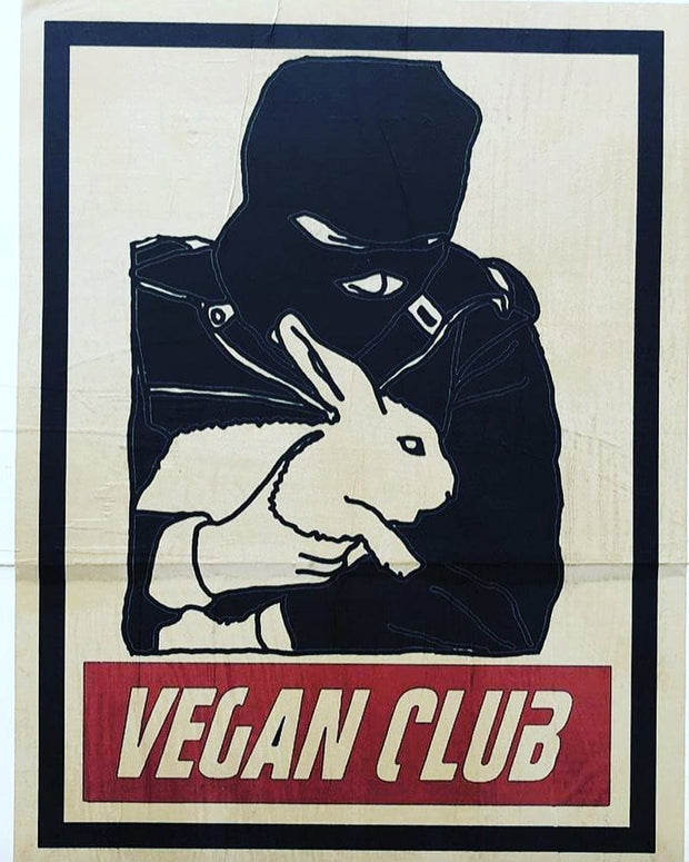 NewsPrint Poster Vegan Club feat. ALF Animal Liberation Front