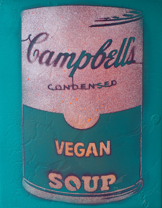 Vegan Soup Turquoise, Rose & Peach Graffiti on Wood and Resin 14x11