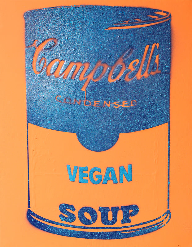 Vegan Soup Neon Orange & Blue Graffiti on Wood and Resin 14x11