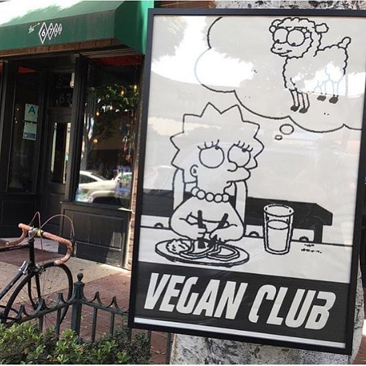 Framed Street Art NewsPrint Poster 24x36 Vegan Club featuring Liza Simpson Simpsons signed by LeFou