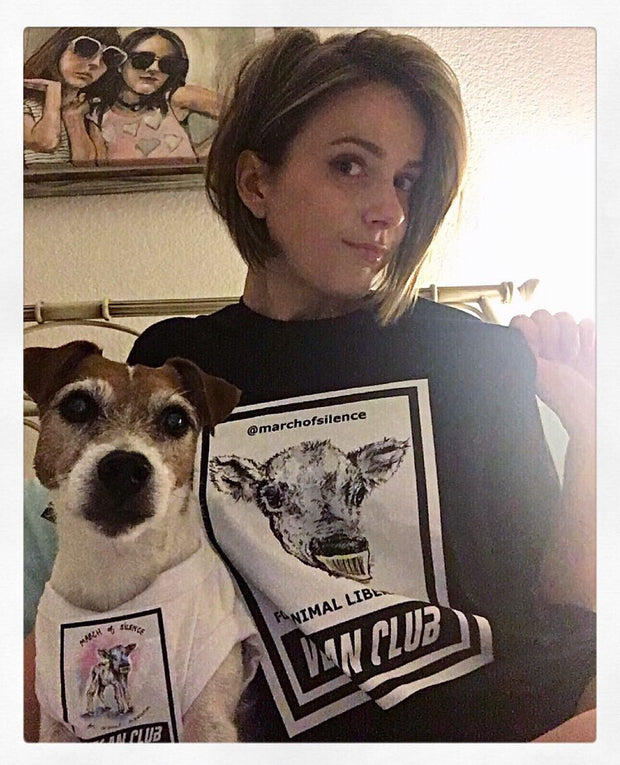 "Organic Made in USA T-shirt ""Vegan Club"" featuring a Cow for the March of Silence - art by Lindsay Leigh Lewis"