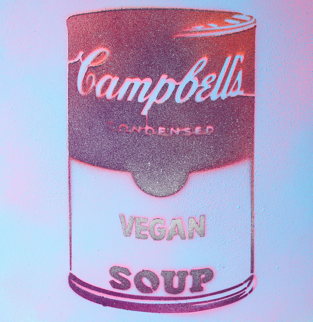 Vegan Soup Blue, Purple & Red Graffiti on Wood and Resin 8x8