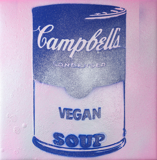 Vegan Soup Pink & Blue Graffiti on Wood and Resin 8x8