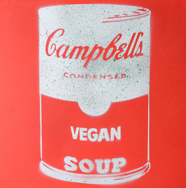 Vegan Soup Red & White Graffiti on Wood and Resin 8x8