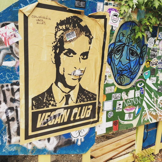Street Art NewsPrint Poster Vegan Club Tony Kanal Signed L3f0u model @kennyparkerusa @ravenandcrow @chefzoid - pic by @chefitophoto