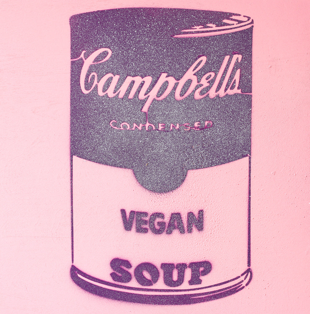 Vegan Soup Pink & Purple Graffiti on Wood and Resin 8x8