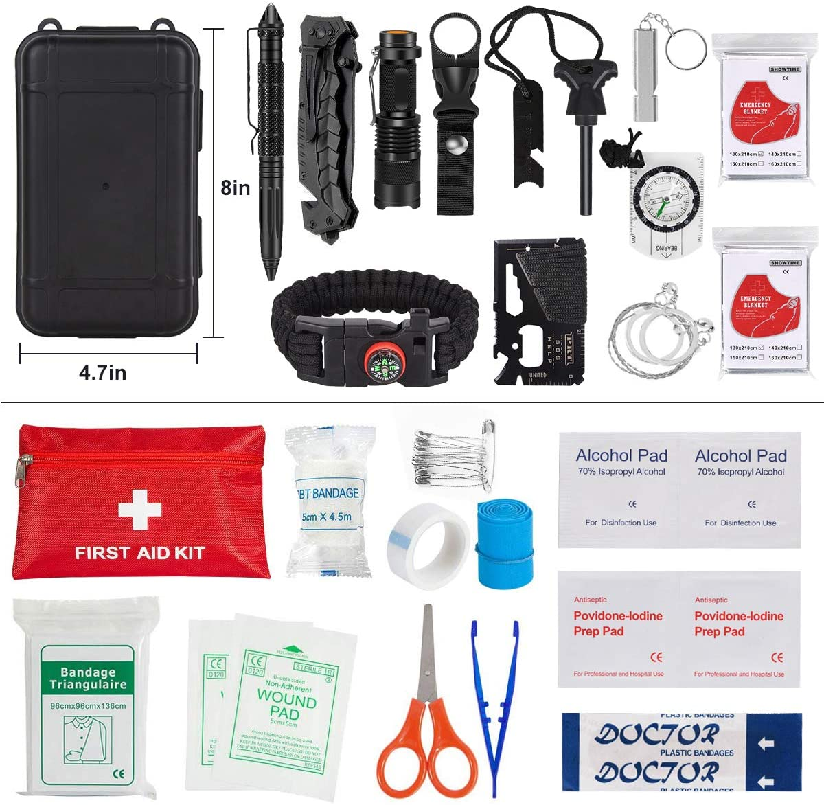 Vegan Club Survival Kit with Fist Aid Kit, Life Straw, Mask & Stickers + optional Food Supply