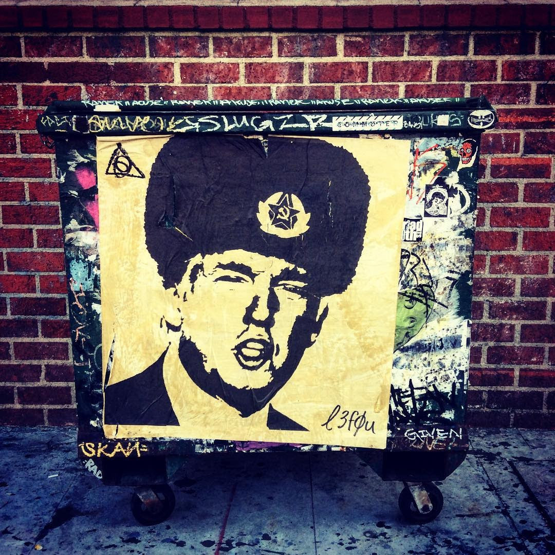 "Street Art NewsPrint Poster Trump ""From Russia, with Love"" Signed L3f0u approx 36"" x 36"""