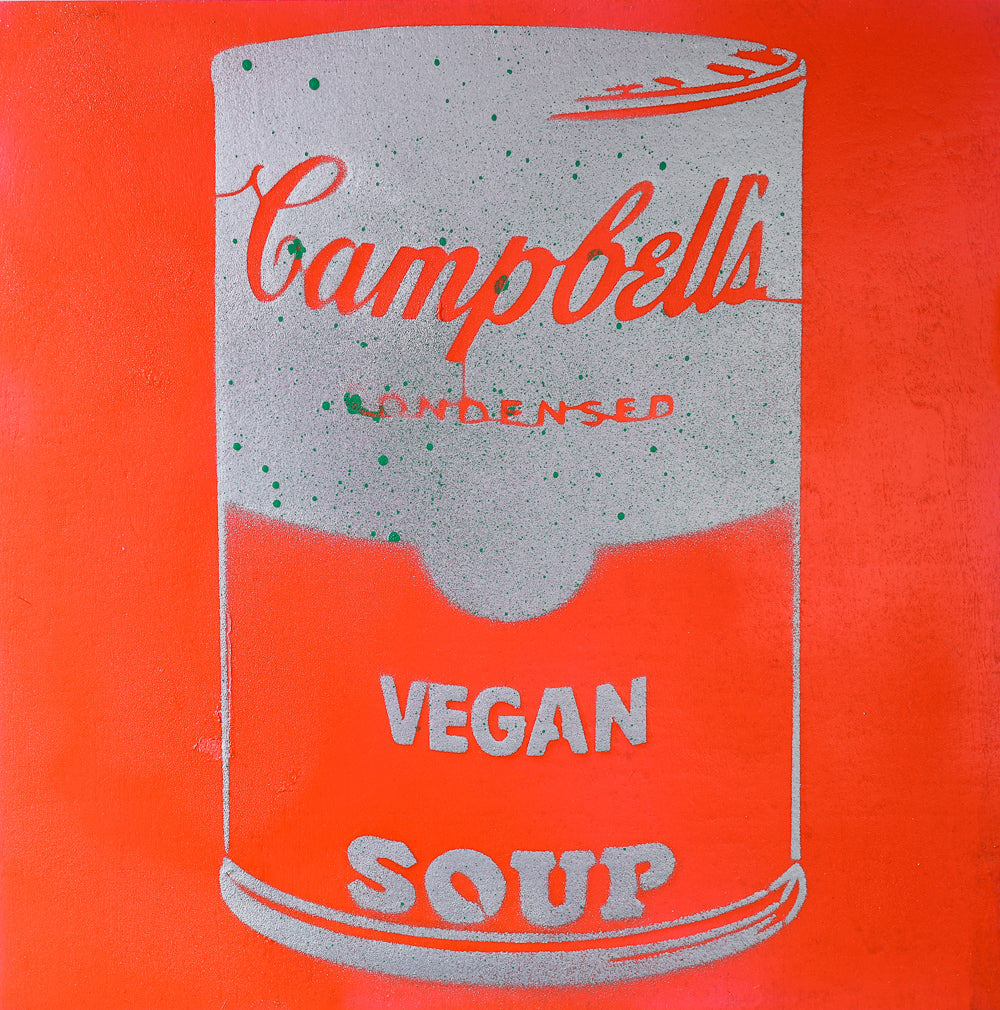 Vegan Soup Neon Orange & Silver Graffiti on Wood and Resin 8x8