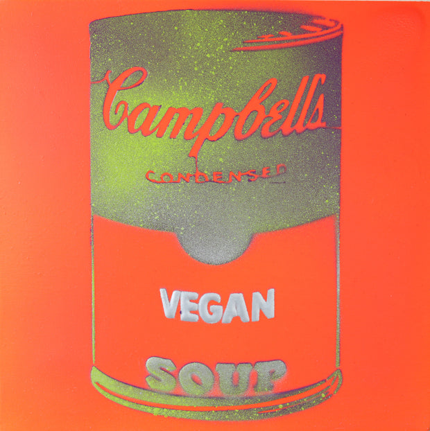 Vegan Soup Orange, Gold & Silver Graffiti on Wood and Resin 8x8
