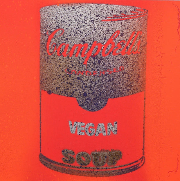 One of a Kind Vegan Soup Artwork made with Orange & Silver Graffiti on Wood and Resin 8x8
