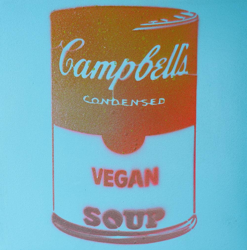 Vegan Soup Bright Blue & Burnt Orange Graffiti on Wood and Resin 8x8