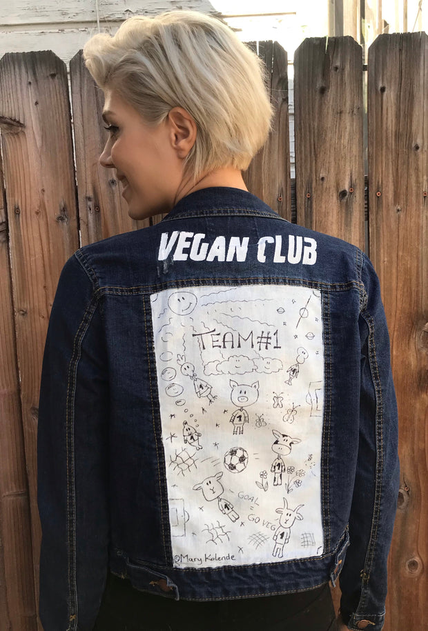 "One of a Kind Upcycled Jean Jacket ""Team #1"""
