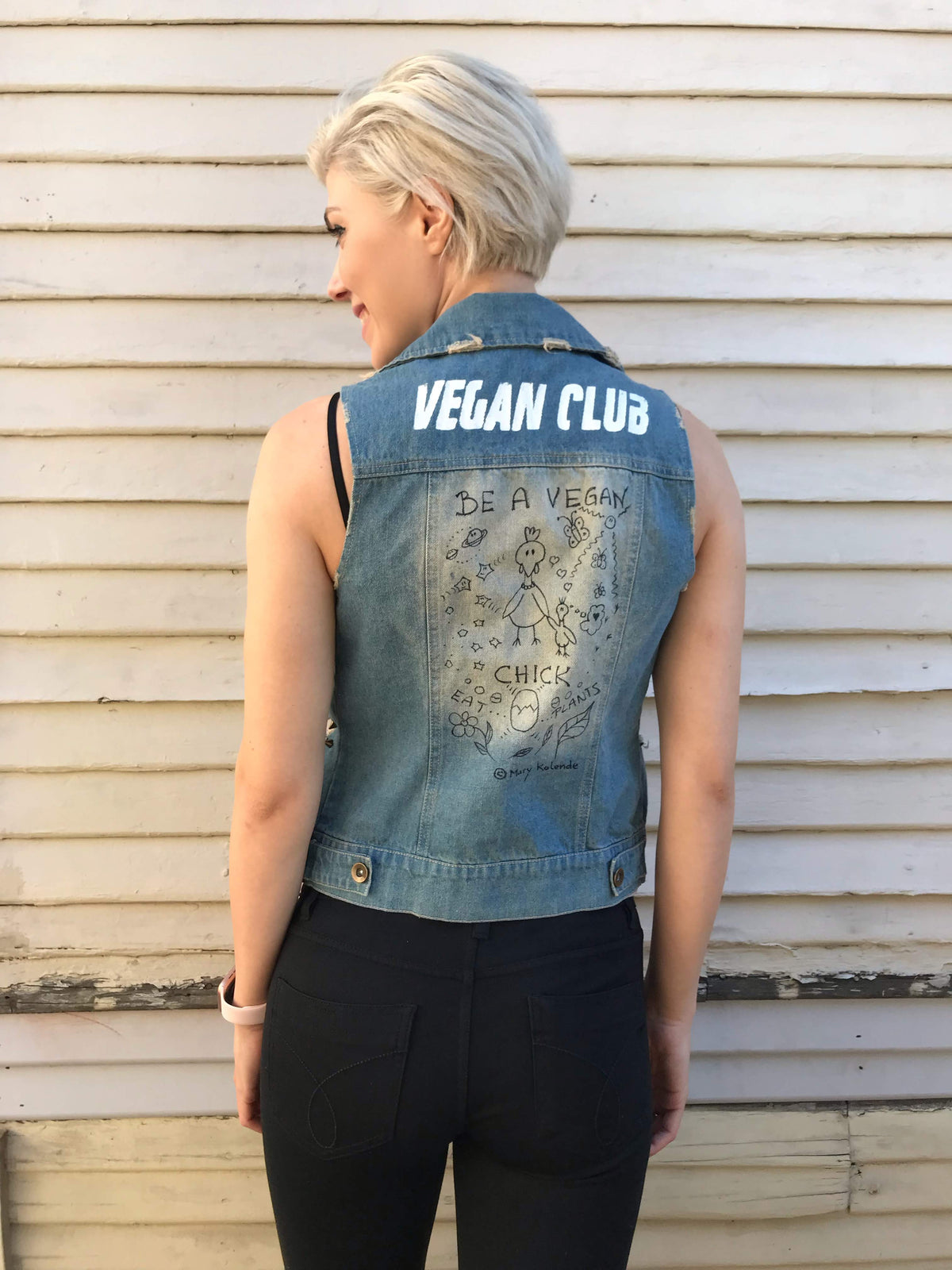 "One of a Kind Upcycled Jean Jacket ""Be a Vegan Chick"" with Vegan Club featuring cute animal doodles by Mary Kolende"