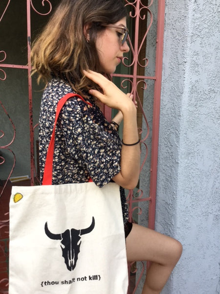 "Vegan Bag Handmade Art ""Thou Shalt Not Kill"" with bone cow head Made in USA - model @murphmuff"