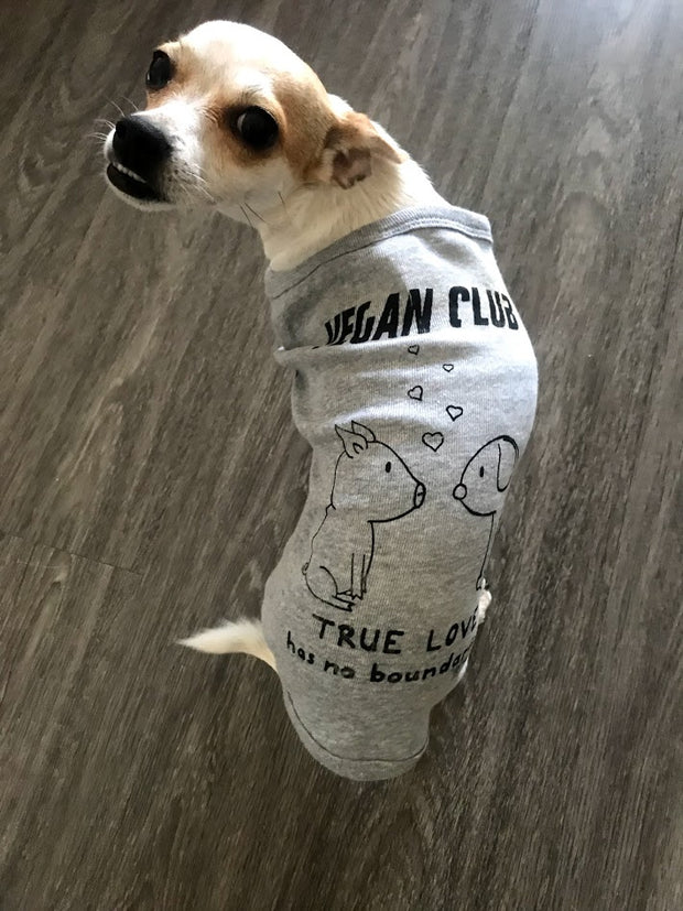 Vegan Club collab with Mary Kolende's doodles True Love has no Boundaries Dog Tshirt