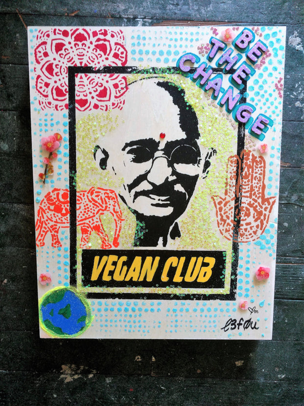 "11x14 Original Artwork Collab w @cindyspursuit ""Vegan Club"" feat Gandhi"
