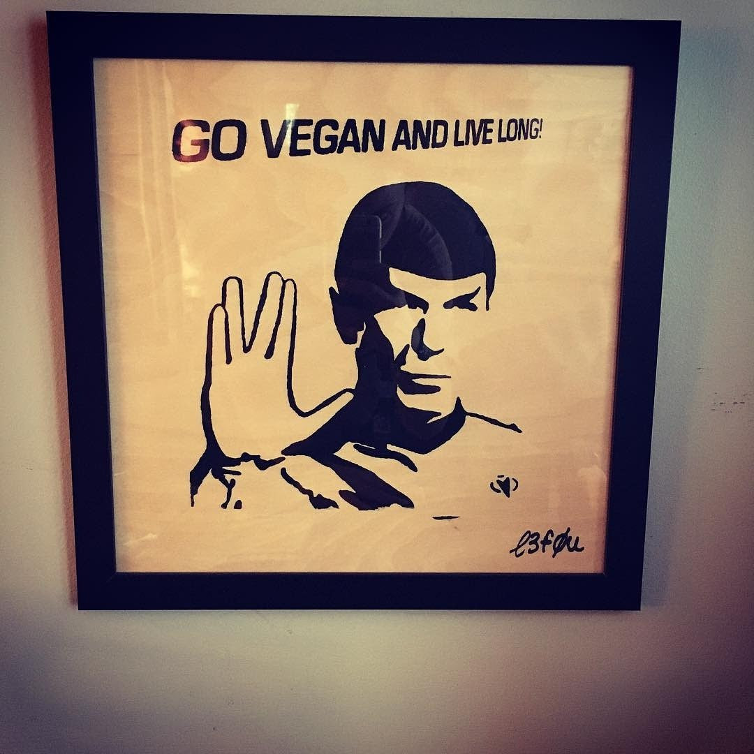 "Limited Edition 1 of 150 Original Artwork on Wood ""Go Vegan and Live Long"" feat. Spock Star Trek Signed L3f0u (not framed nor colored )"