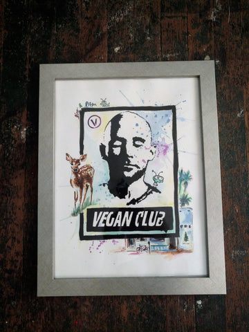 "DONATED LITTLE PINE - 12x15 One of Kind Original Collab Artwork ""Vegan Club"" featuring Moby Signed @lindsayleigh1111 & ""L3f0u"" - Acrylic on paper"