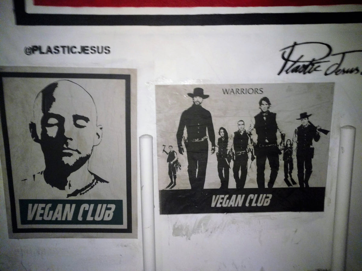 Limited Ed. Street Art NewsPrint Poster Vegan Club featuring Warriors - pic by @chefitophoto