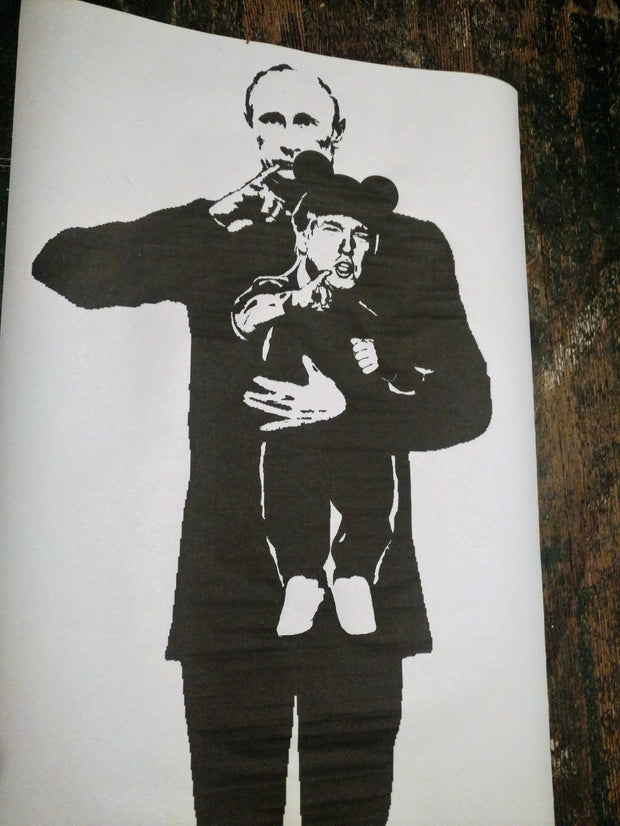 "Street Art NewsPrint Poster Trump featuring Vladimir Putin a la ""Mini Me"" Signed Le Fou"