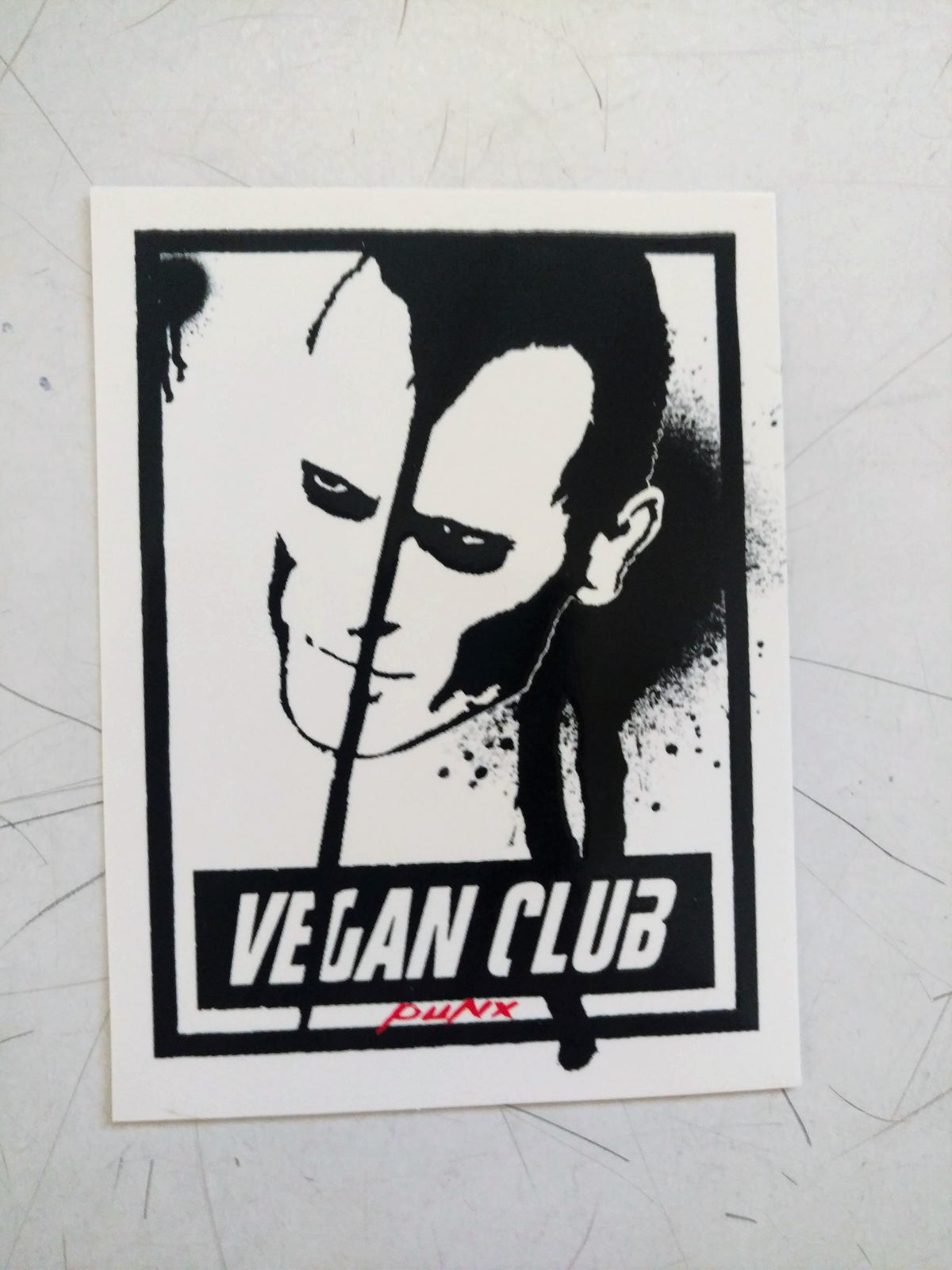 SOLD OUT - Spread the Word with 12 Vegan Club Stickers with Doyle Wolfgang von Frankenstein, Misfits by Le Fou, collab with Anthony Proetta Jr