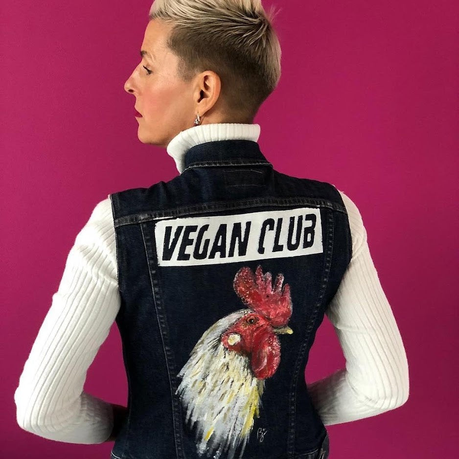 SOLD - One of a Kind Upcycled Jean Jacket Vest Vegan Club featuring a chicken hand-painted by artist Brandi Jae