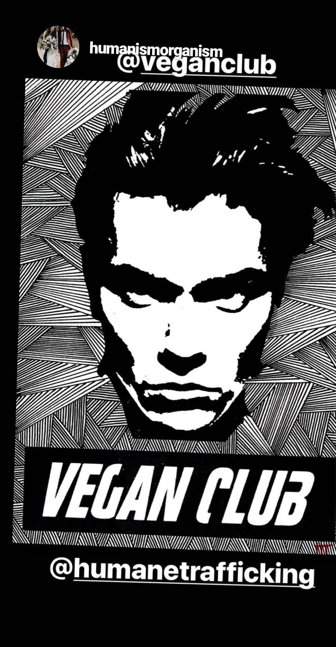 Street Art NewsPrint Poster Vegan Club featuring River Phoenix by Le Fou Collab with @humanetrafficking
